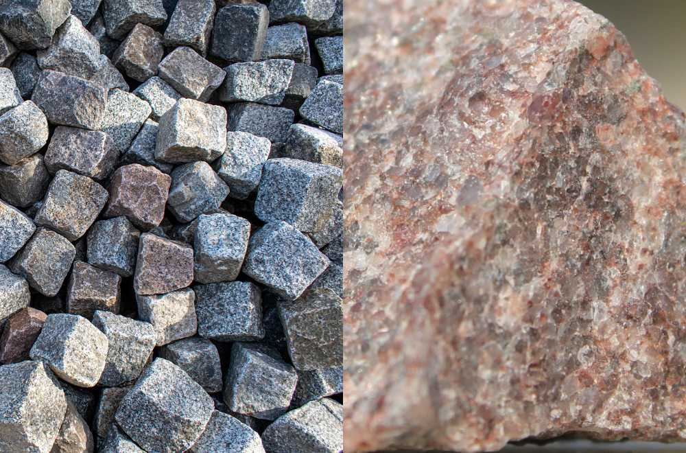 an image showing quartzite on one half and granite on the other